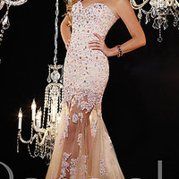 Strapless Prom Gown with Sheer Skirt by Panoply