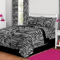 Black White College Dorm Twin XL Zebra Print Comforter Set (6pc Bed in a Bag)