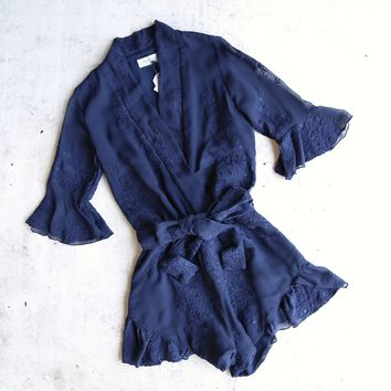 lioness - date night front surplice embroidered romper - navy