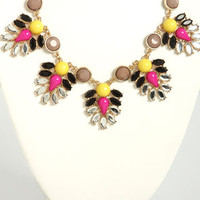 Ladies of the Court Magenta and Yellow Necklace