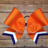 """3"""" Orange Team Cheer Bow with White Glitter and Royal Blue Glitter Tail Stripes"""