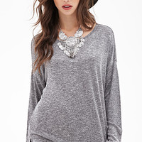 FOREVER 21 Oversized Marled Top