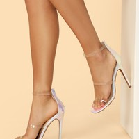 Clear Straps Holographic Detail Back Zip Heels