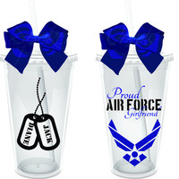 Proud Air Force Girlfriend 16 oz Personalized Acrylic by SpknWords