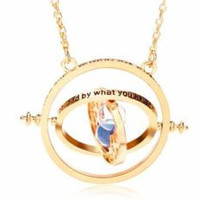 Harry potter Time Turner Rotating Hourglass Pendant Necklace
