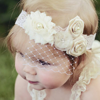 Lace Baby Headband, Birdcage Veil, Matching Romper avaiable