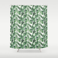 "Shower Curtain - ' Tropical Leaves' - 71"" by 74"" Home, Decor, Bathroom, Bath, Dorm, Girl, Christmas, Gift, Leaves, Abstract, Boho, Nature"