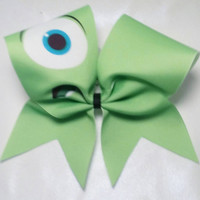 Mike Wizowski Cheer Bow- 3 Inch Texas Size - Cheer Party - Theme Practice - Birthday Gift - Ponytail Accessory