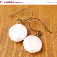 50% OFF - Coin Pearl Earring - holiday sale, black friday, cyber monday, fresh water pearl, disk pearl, round pearl