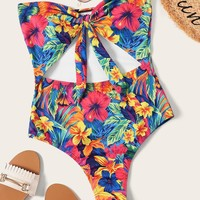 Random Flower Print Cut-out Tie Front One Piece Swim