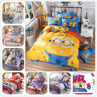 Cartoon 3d Bedding Set Minions Mickey Mouse Hello Kitty Printed for Kids Cotton Bed Linen 4pcs Duvet Cover Bed Sheet Pillowcases