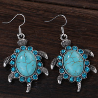 Blue Animal Round Turquoise Crystal Adorn Pure Tibetan Silver Drop Dangle Earrings Crystal