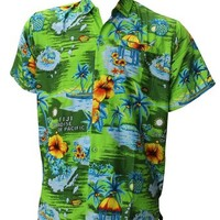 La Leela Green HAWAII PARADISE Pocket Likre Beach Swim Hawaiian Shirt For Men