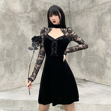 fhotwinter19 stitching lace lace long-sleeved hollow skirt women