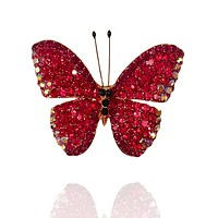 Red Crystal Butterfly Broach
