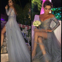 V-Neck Slit Prom Dresses,Grey Prom Dresses,Long Evening Dress