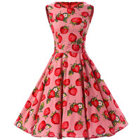 Red Vintage Sleeveless Printed Pleated Midi Swing Dress