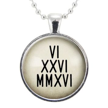 Custom Roman Numeral Date Necklace, Personalized Jewelry, Memorial Pendant, Anniversary Gift Ideas For Her