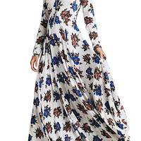 Floral Printing Slit Side Maxi Dress