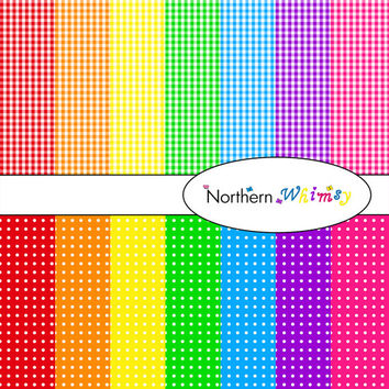 Digital Scrapbooking Paper Background Set – bright rainbow colored 12x12 sheets in gingham and polka dot patterns INSTANT DOWNLOAD