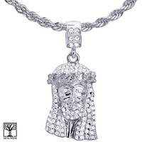 """Jewelry Kay style 24"""" Chain Hip Hop Silver Plated CZ Stoned Jesus Face Pendant Necklace HC 1173 S"""