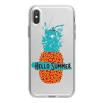 Retro Hello Summer Pineapple v2 - Crystal Clear Hard Case for the iPhone XS MAX, XS & More (ALL AVAILABLE)