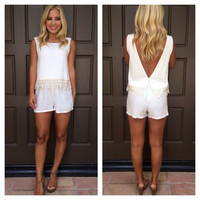 White Deep V-Cut Back Sleeveless Top with Lace Accent and Shorts