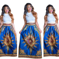 Sleeveless Crop Top with Printed High Waist Skirt