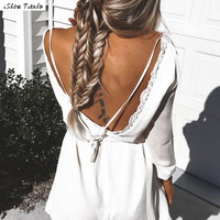 Sexy Women Dress 2016 Summer Dresses Boho Style Long Sleeve Sexy Backless Women Dress Straight Casual Beach Vestidos Plus Size