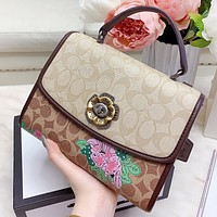 COACH New fashion pattern floral print leather shoulder bag crossbody bag handbag