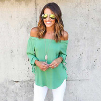 Women's Fall Fashion Long Sleeve Stylish Off the Shoulder Shirt [9068282756]