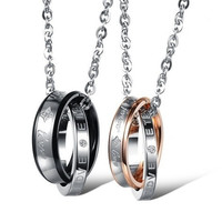 "Couple ""Forever Love"" Double Ring Necklace Lover Promise Necklace One Piece Price(With Thanksgiving&Christmas Gift Box)"