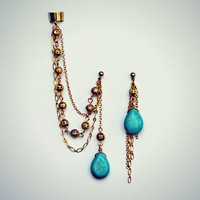 turquoise drop ear cuff and earrings, chains ear cuff, feather earrings, tribal earrings, vintage stlye