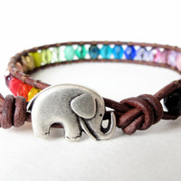 Rainbow elephant hipster bracelet Easter gift by MirasBeadBoutique