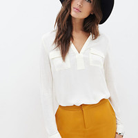 LOVE 21 Flat Collar Woven Blouse