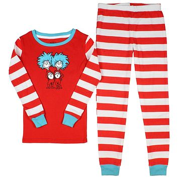 Dr. Seuss Big Boys' Cat In The Hat Thing 1 Thing 2 Tight Fit Pajamas