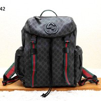 GUCCI Tide brand men and women retro double G printing large capacity travel bag backpack Black