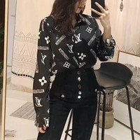"""Louis Vuitton"" Women All-match Fashion Letter Logo Print Long Sleeve Cardigan Lapel Shirt Tops"