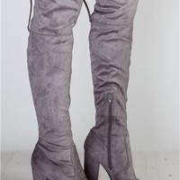 Emily Grey Suede Over The Knee Boots at misspap.co.uk