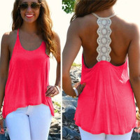 Womens Sexy Loose Halter Ladies Summer Sleeveless Tank Tops Vest T-Shirt Blouse = 5658716097