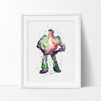 Buzz Lightyear, Toy Story Watercolor Art Print