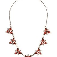 Red Gemstone Cluster Bib Necklace by Charlotte Russe
