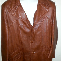 Vintage 1970s Brown Hipster Leather Jacket by Adler Leather MFG. CO. - Size 46-