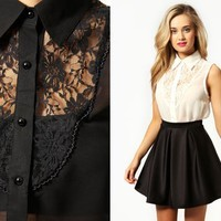 Alice Sleeveless Shirt With Lace Detail