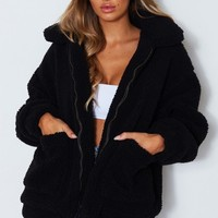 Downtown Teddy Jacket Black