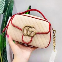Gucci new fashion  shoulder Messenger bag small square bag handbag