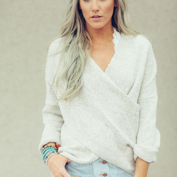 Surplice Knitted Cropped Sweater
