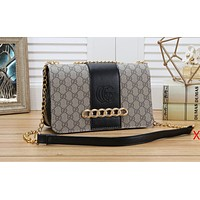 Gucci Fashion Female Printed Splicing color Single Shoulder Bag Hot Selling Shopping Bag Black