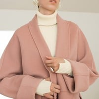 Wide Sleeve Wool Blend Wrap Coat