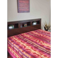 Handloom Cotton Striped Overprint Celestial Tapestry Beadspread Coverlet Beach Sheet Bed Sheet Throw Raspberry Red Twin